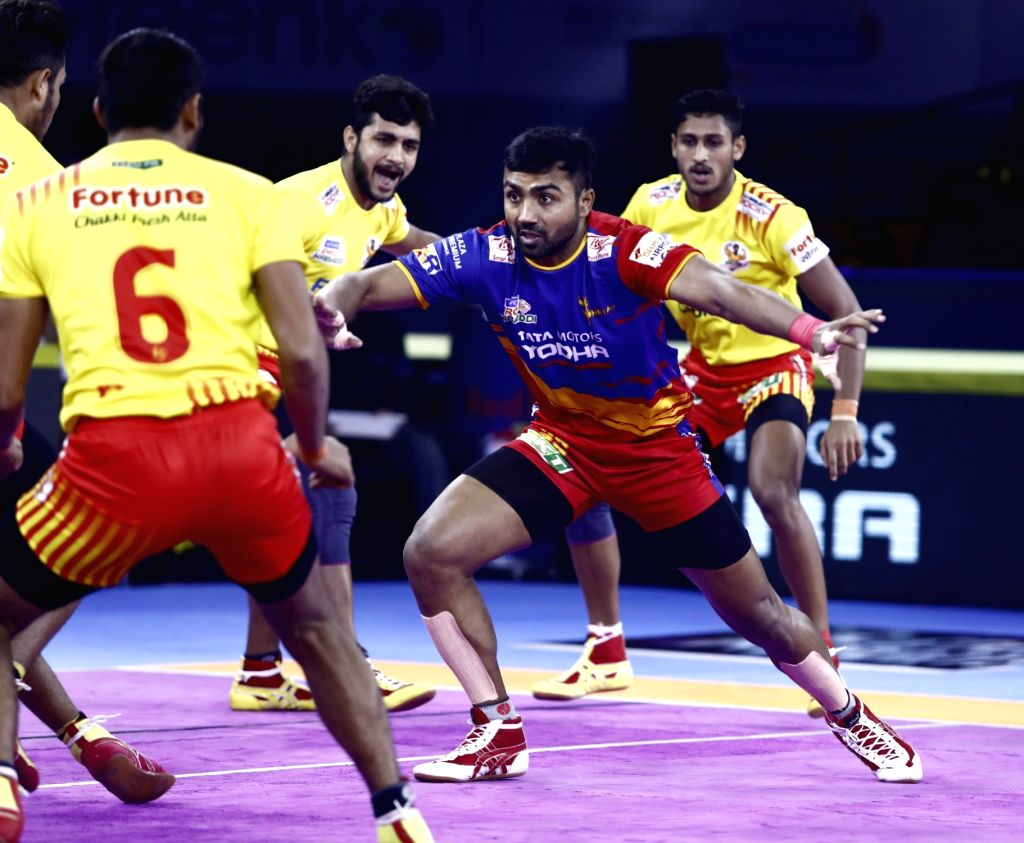 Players in action during Pro Kabaddi Season 7 match between UP Yoddha and Gujarat Fortunegiants at Gachibowli Indoor Stadium in Hyderabad, on July 26, 2019.