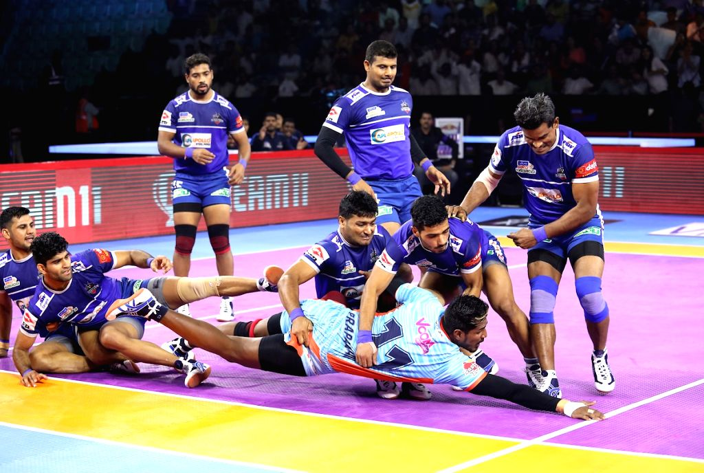 Players in action during Pro Kabaddi Season 7 match between Bengal Warriors and Haryana Steelers at Thayagraj Sports Complex in New Delhi on Aug 26, 2019.