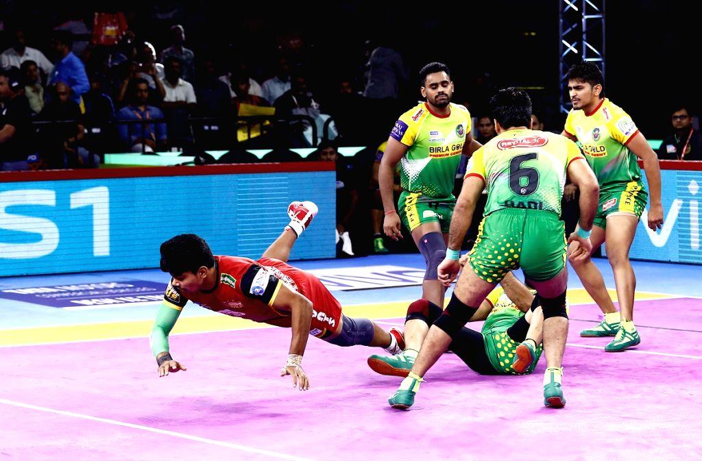 Players in action during Pro Kabaddi Season 7 match between Bengaluru Bulls and Patna Pirates at Kanteerava Stadium in Bengaluru on Sep 4, 2019.