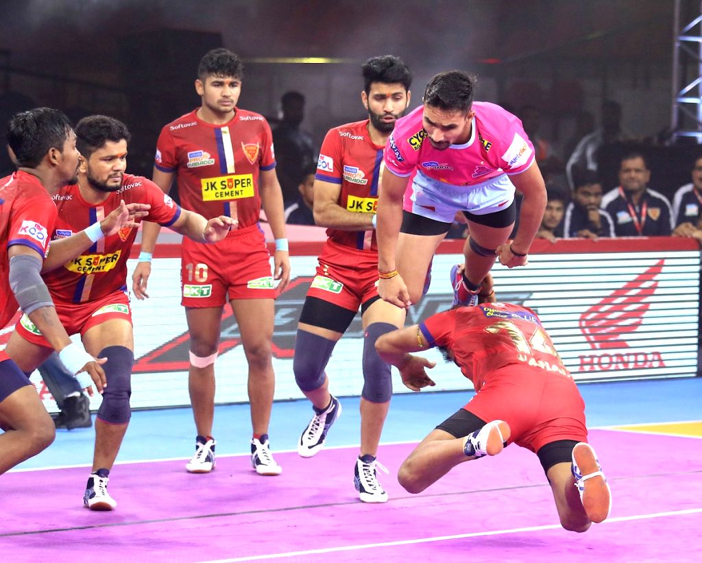 Players in action during Pro Kabaddi Season 7 match between Jaipur Pink Panthers and Daban Delhi at Kanteerava Stadium in Bengaluru on Sep 4, 2019.