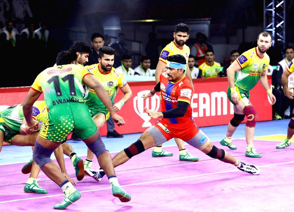 Players in action during Pro Kabaddi Season 7 match between Patna Pirates and UP Yoddha at Kanteerava Stadium in Bengaluru on Sep 6, 2019.