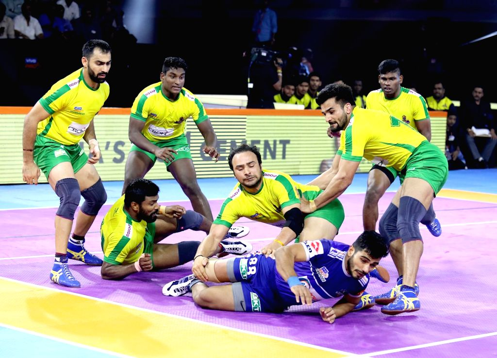 Players in action during Pro Kabaddi Season 7 match between Tamil Thalaivas and Haryana Steelers at Shree Shiv Chhatrapati Sports Complex in Pune on Sep 14, 2019.