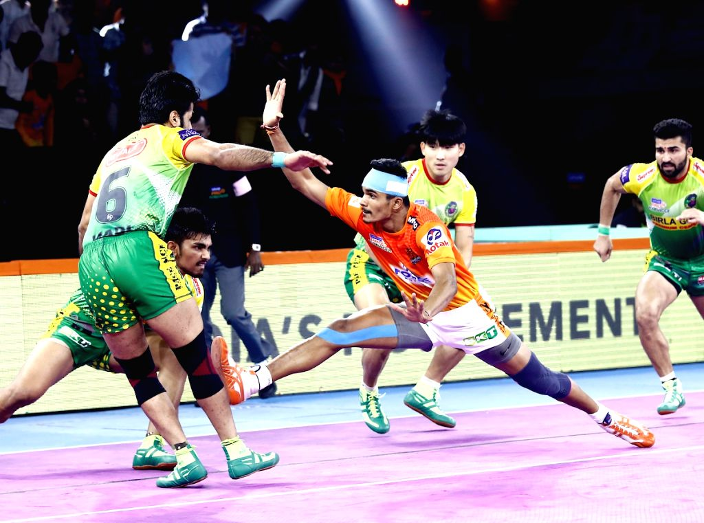 Players in action during Pro Kabaddi Season 7 match between Puneri Paltan and Patna Pirates at Shree Shiv Chhatrapati Sports Complex in Pune on Sep 15, 2019.