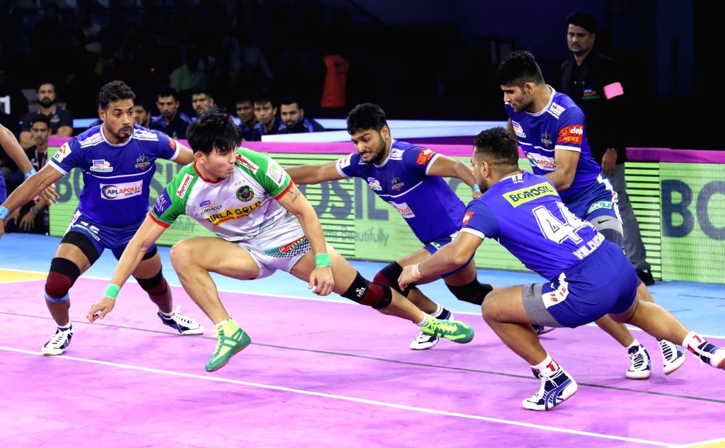 Players in action during Pro Kabaddi Season 7 match between Patna Pirates and Haryana Steelers at Sawai Mansingh Indoor Stadium in Jaipur on Sep 23, 2019.