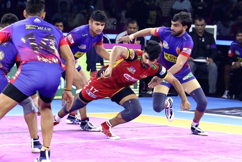Players in action during Pro Kabaddi Season 7 match between Dabang Delhi KC and Bengaluru Bulls at Sawai Mansingh Indoor Stadium in Jaipur on Sep 23, 2019.