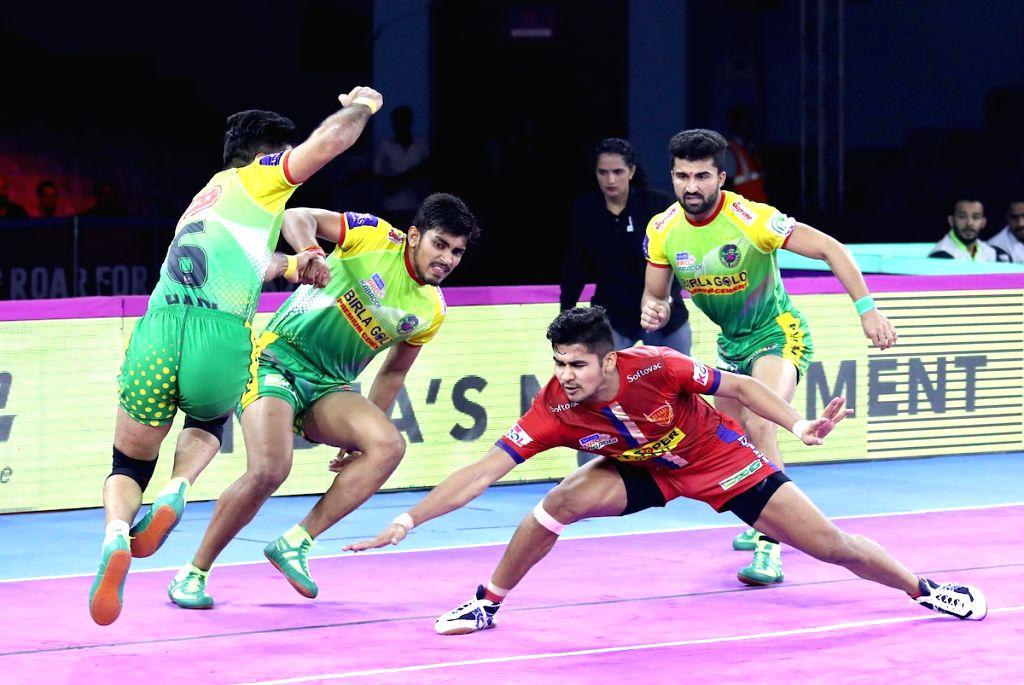 Players in action during Pro Kabaddi Season 7 match between Patna Pirates and Dabang Delhi at Sawai Mansingh Indoor Stadium in Jaipur on Sep 26, 2019.