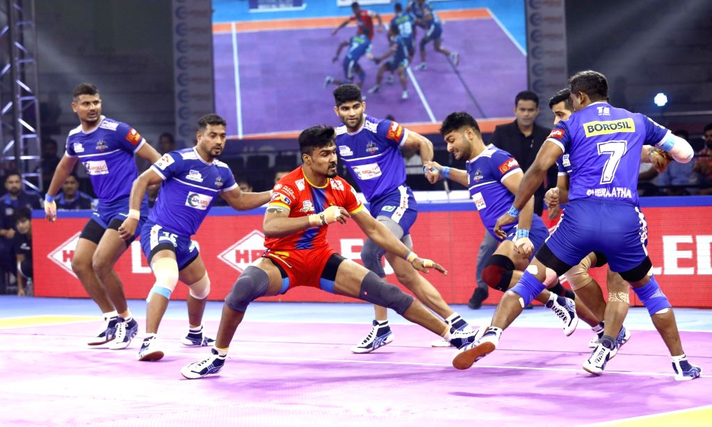 Players in action during Pro Kabaddi Season 7 match between U.P. Yoddha and Haryana at Tau Devilal Sports Complex in Panchkula on Sep 28, 2019.