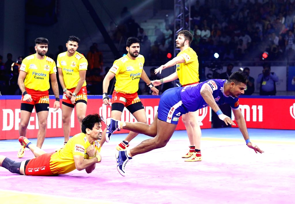 Players in action during Pro Kabaddi Season 7 match between Haryana Steelers and Gujarat Fortunegiants at Tau Devilal Sports Complex in Panchkula, Haryana on Sep 29, 2019.