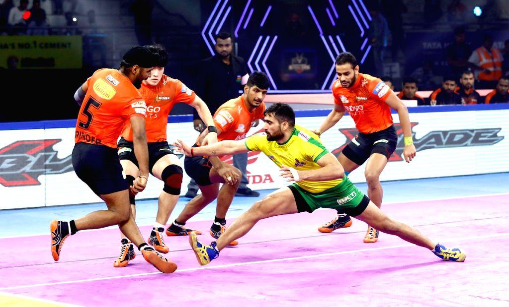 Players in action during Pro Kabaddi Season 7 match between Tamil Thalaivas and U Mumba at Tau Devilal Sports Complex in Panchkula, Haryana on Sep 30, 2019.