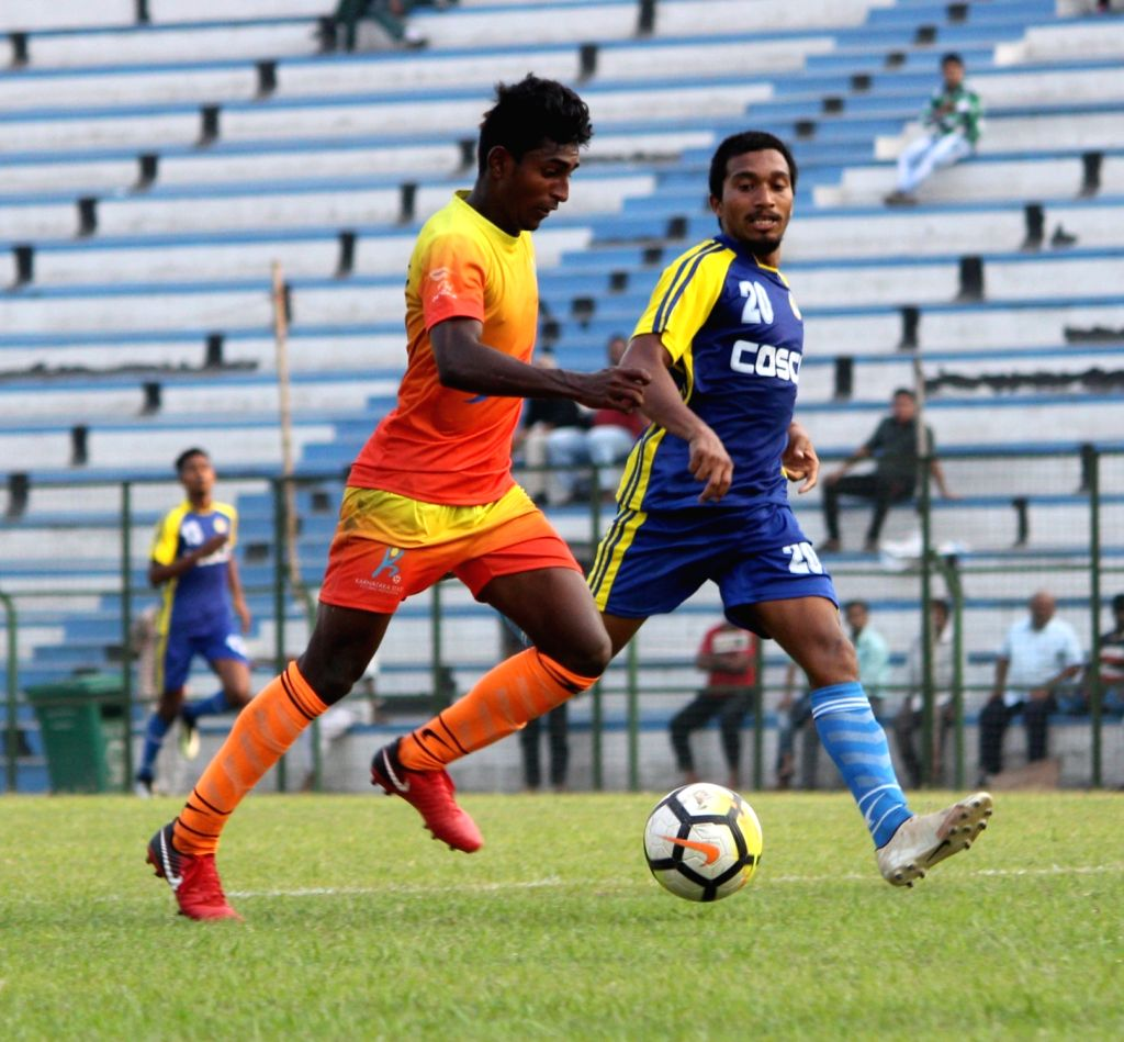 Players in action during Santosh Trophy match between Karnataka and Goa at the Sailen Manna Sports Complex in Howrah, West Bengal on March 22, 2018.