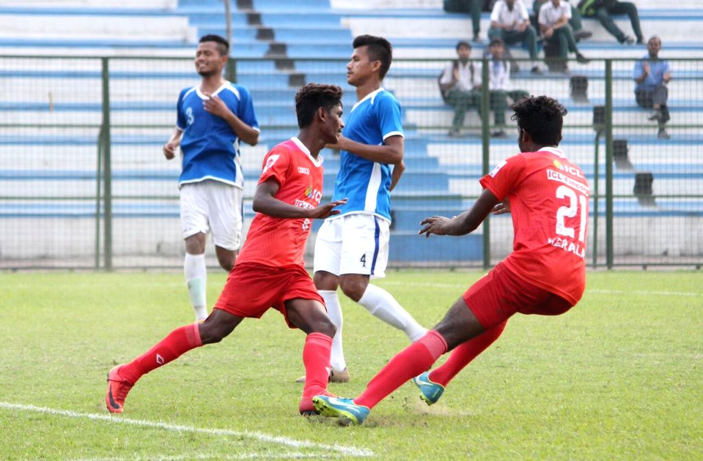 Players in action during Santosh Trophy match between Kerala and Manipur at the Sailen Manna Sports Complex in Howrah, West Bengal on March 23, 2018.