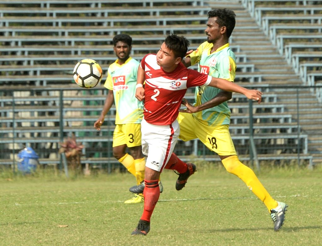 Players in action during Santosh Trophy Semi Final between Kerala and Mizoram at Rabindra Sarobar stadium in Kolkata on March 27, 2018.