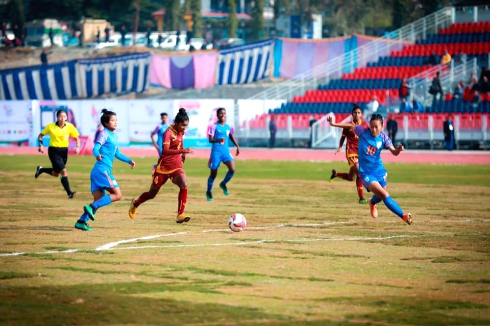 Players in action during the 13th South Asian Games 2019 women football match between India and Sri Lanka at the Pokhara Stadium in Pokhara, Nepal on Dec 5, 2019.