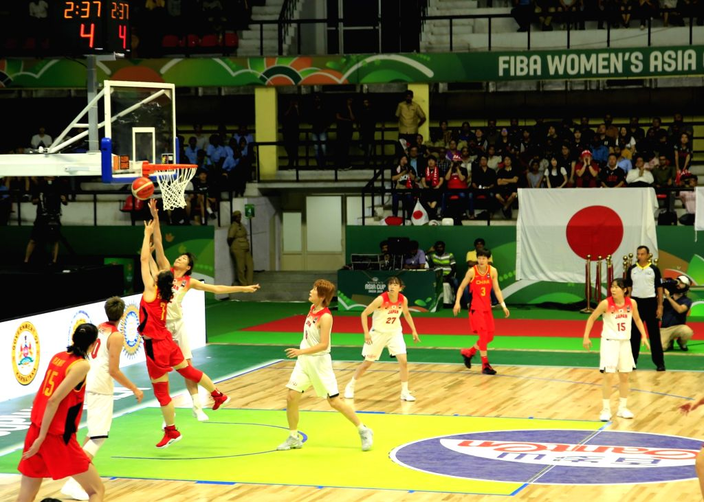 Players in action during the 2019 FIBA Women's Asia Cup final match between Japan and China at Sree Kanteerava Stadium, in Bengaluru on Sep 29, 2019.