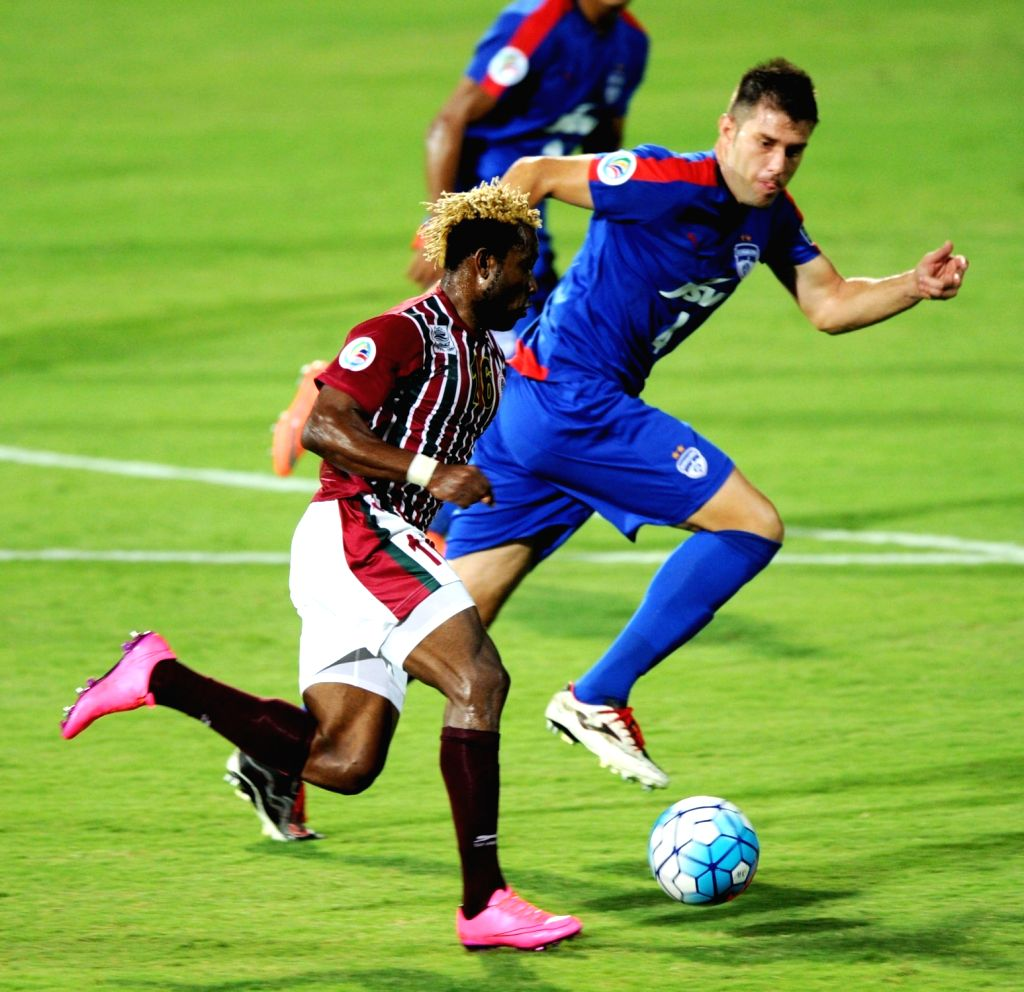 Players in action during the AFC Cup match between Mohun Bagan and Bengaluru FC at Kanteerava Stadium, in Bengaluru on March 14, 2017.