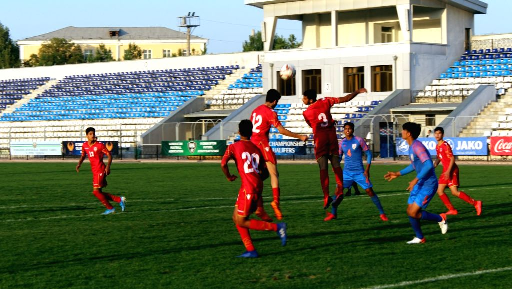players in action during the AFC U-16 Championship Qualifiers match between Bahrain and India at Transport Institute Stadium in Tashkent, Uzbekistan on Sep 20, 2019.