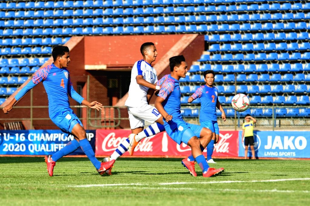 Players in action during the AFC U-16 Championship Qualifiers match between India and Uzbekistan at Transport Institute Stadium in Tashkent, Uzbekistan on Sep 22, 2019.