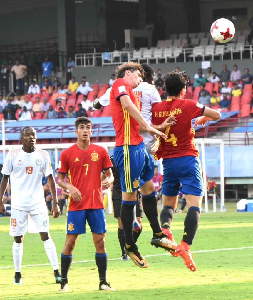 Players in action during the FIFA U 17 World Cup India 2017 Group D match between Niger and Spain at the Jawaharlal Nehru Stadium in Kochi on Oct 10, 2017.