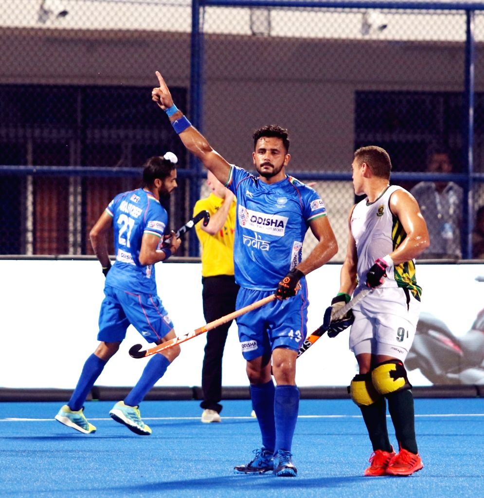 Players in action during the FIH Series Finals (Men's) between India and South Africa in Bhubaneswar on June 15, 2019.
