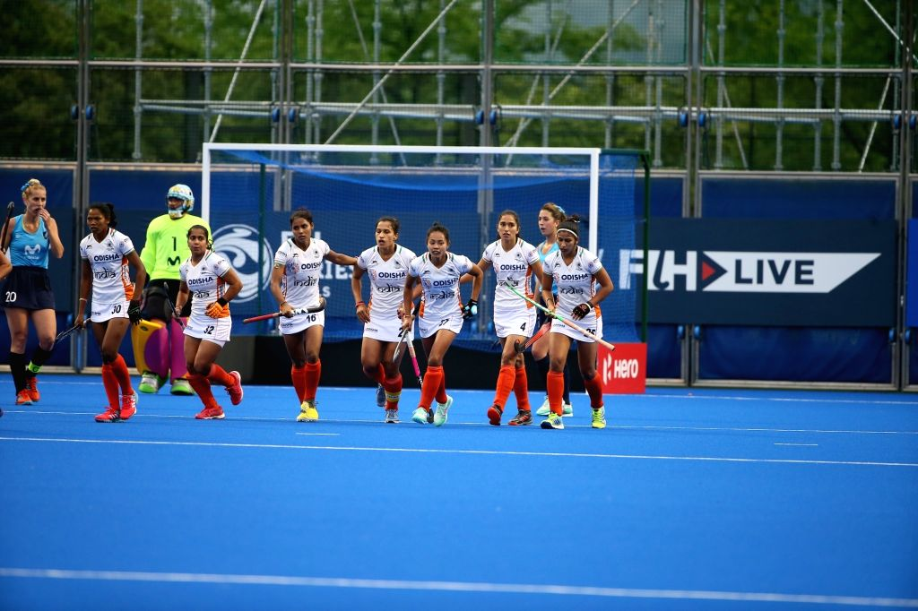 Players in action during the FIH Women's Series Finals Hiroshima 2019 opener match between Indian and Uruguay, in Hiroshima, Japan on June 15, 2019. Indian Women???s Hockey team began ...