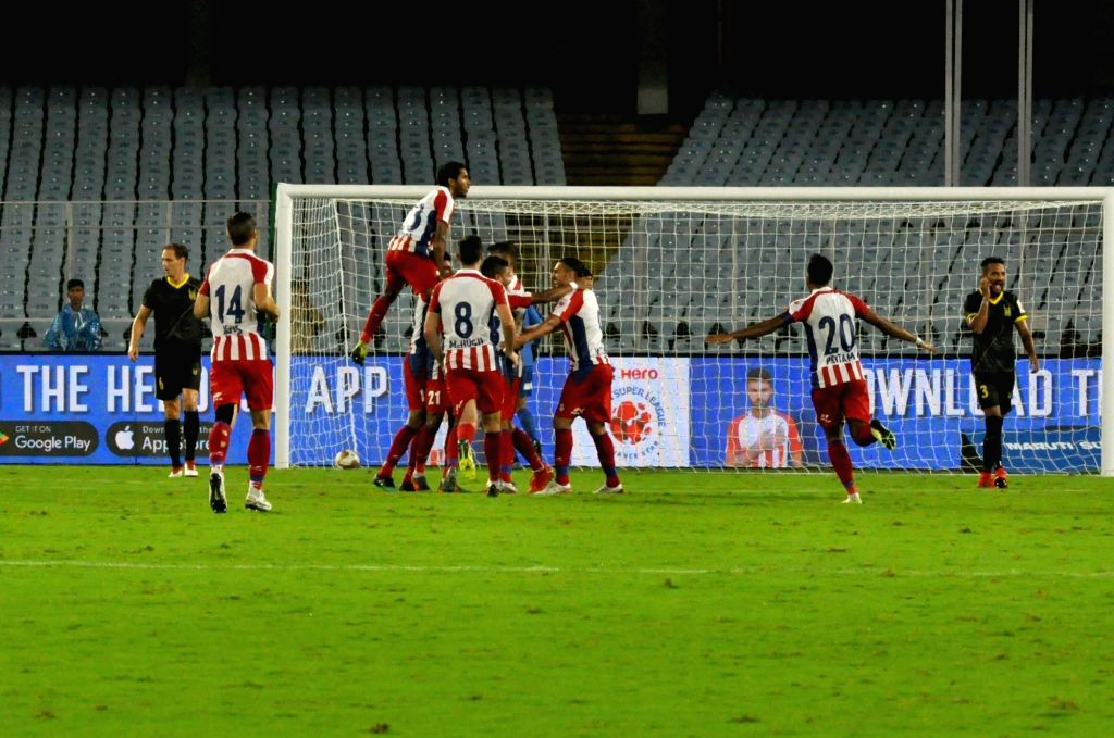 Players in action during the Indian Super League (ISL) match between ATK and Hyderabad FC at Salt Lake Stadium in Kolkata on Oct 25, 2019.