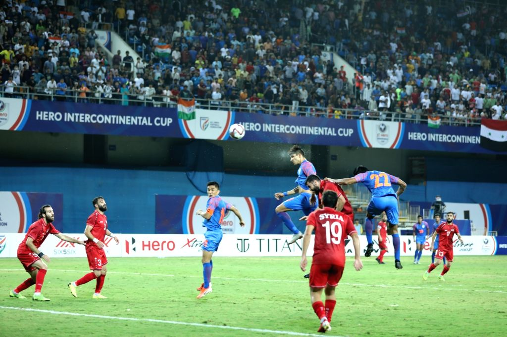 Players in action during the Intentional Cup 2019 match between India and Syria, in Ahmedabad on July 16, 2019. Indian ended 1-1 against Syria in the tournament.