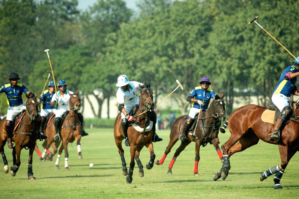 Players in action during the Northern India Open Polo Championship 2019 match between Garcha-Aravali and Sahara Warriors in New Delhi on Feb 24, 2019.