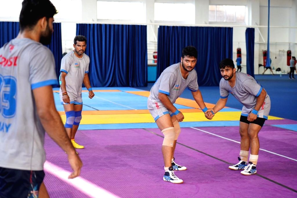 Players in action during the Pro Kabaddi League match between Haryana Steelers and Puneri Paltan in Hyderabad, 21 July 2019.