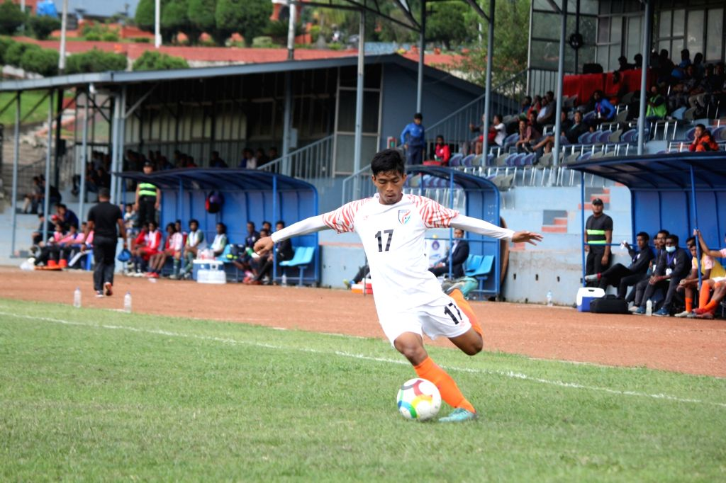 Players in action during the semi-final of SAFF U-18 Championship 2019 between India and Maldives, in Kathmandu, Nepal on Sep 27, 2019. India booked their spot in the final of SAFF U-18 ...