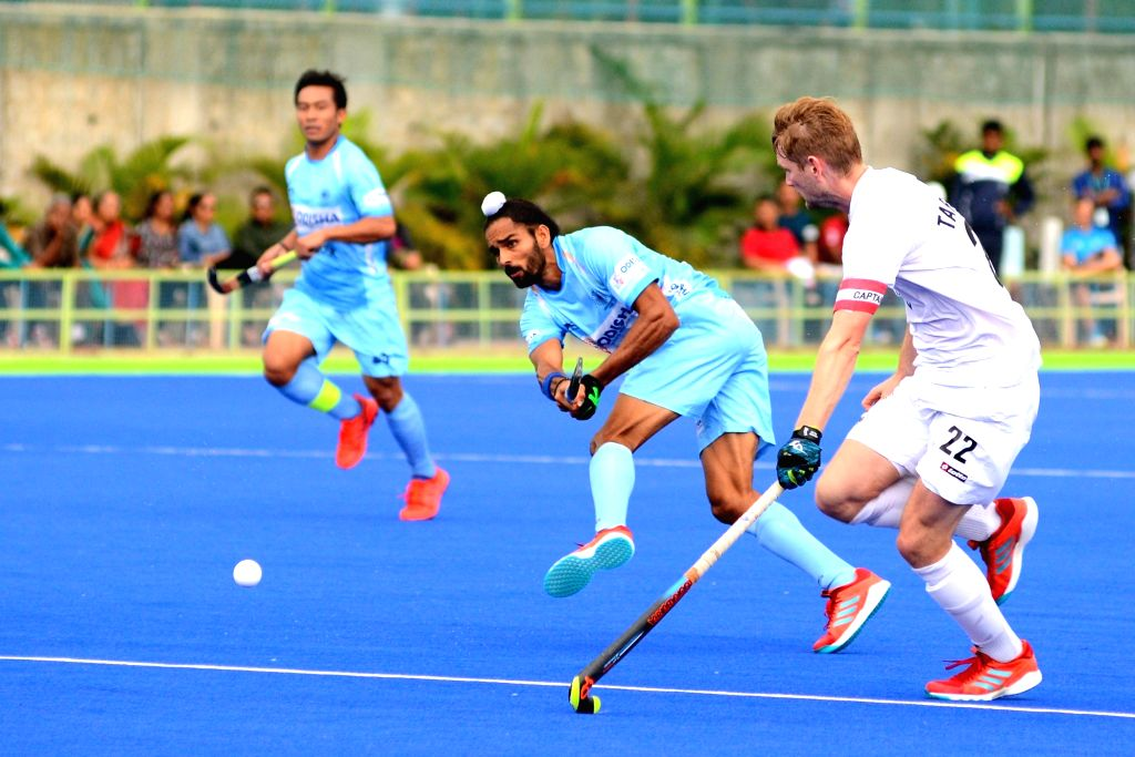 Players in action during the third match of Hockey test series between India and New Zealand in Bengaluru on July 22, 2018. India won the match. Score: 4-0.