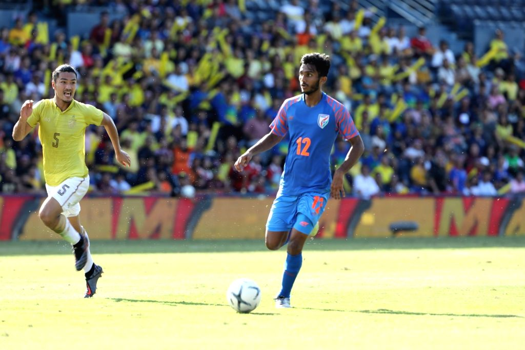 Players in action during the third-place play-off of the King's Cup between India and Thailand in Buriram, Thailand on June 8, 2019. India beat Thailand 1-0.