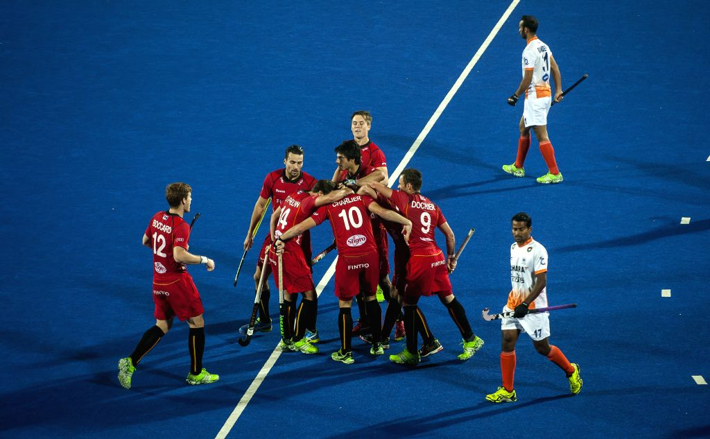 Players of Belgium celebrate after getting a goal during the second semi final match between Belgium and India of Hero Hockey World League Final at the Sardar Vallabh ...