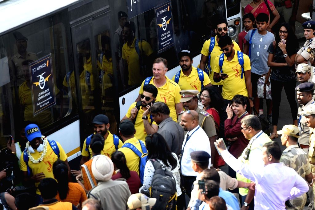 Players of  Chennai Super Kings being greeted by fans on their arrival at Chennai International Airport on May 28, 2018. The Chennai Super Kings lifted their third Indian Premier League ...