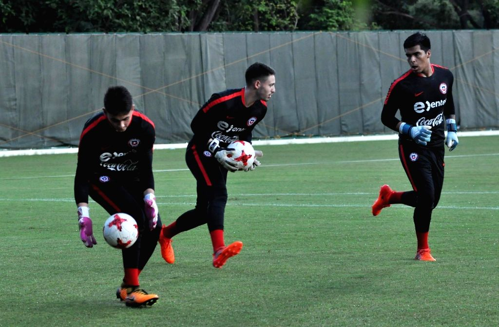 Players of Chile in action during a practice session ahead of FIFA U17 World Cup at SAI ground in Kolkata, on Oct 4, 2017.