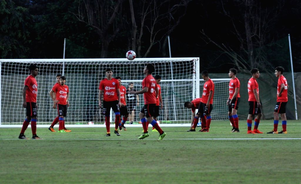 Players of Chile in action during a practice session ahead of FIFA U17 World Cup at SAI ground in Kolkata, on Oct 5, 2017.