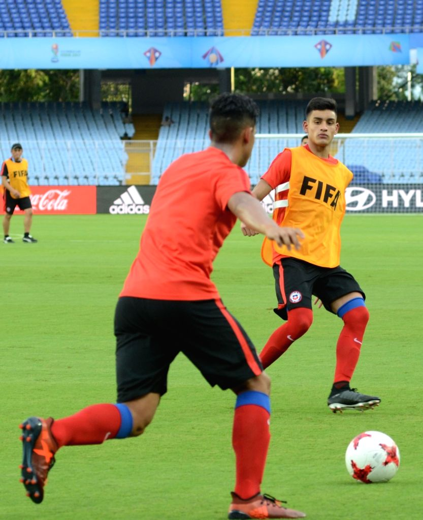Players of Chile in action during a practice session ahead of FIFA U17 World Cup at SAI ground in Kolkata, on Oct 6, 2017.