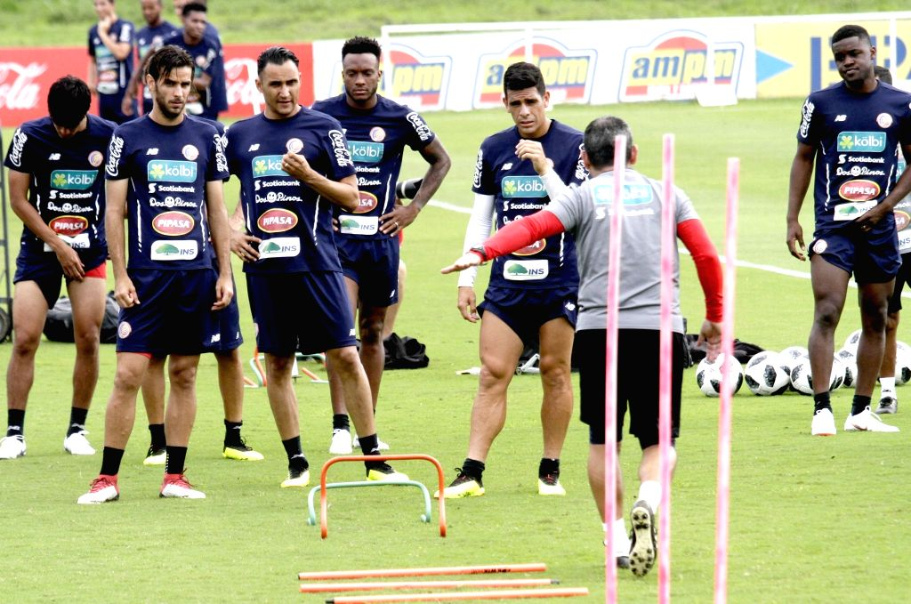 Players of Costa Rica's national soccer team takes part in a training session in San Antonio de Belen, Costa Rica, on May 30, 2018. Costa Rica's ...