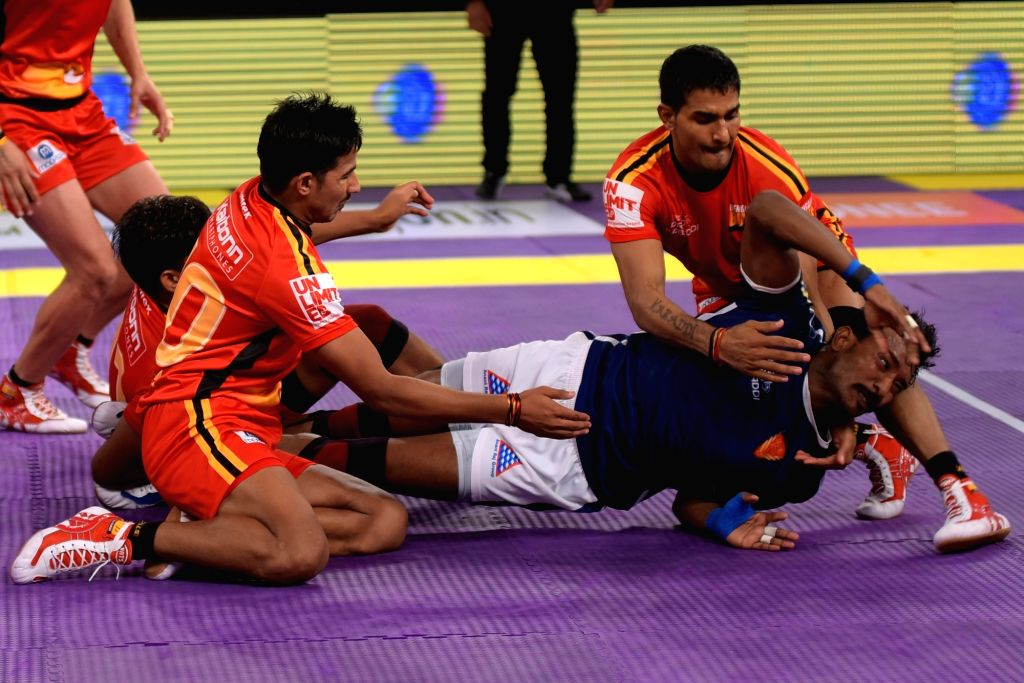 Players of Dabang Delhi and Bengaluru Bulls in in action during a Pro Kabaddi League match at Sawai Mansingh Indoor Stadium in Jaipur, on July 2, 2016.