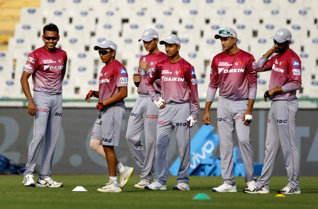 Players of Delhi Daredevils during a practice session in Mohali on April 7, 2018.