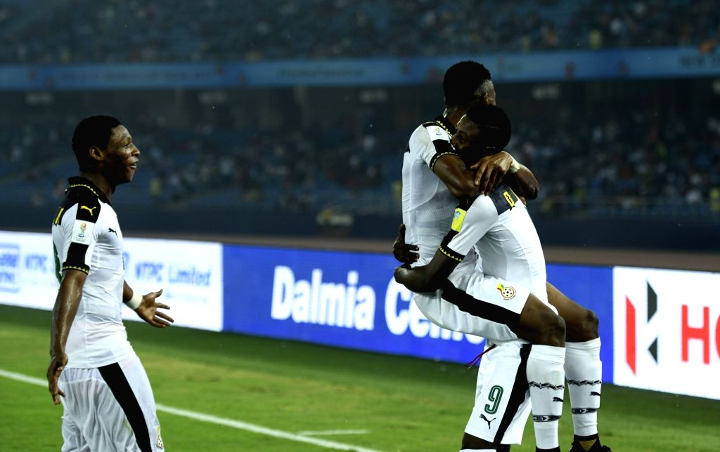 Players of Ghana celebrate a goal during a FIFA U-17 World Cup Group A match between India and Ghana at Jawaharlal Nehru Stadium in New Delhi on Oct 12, 2017.