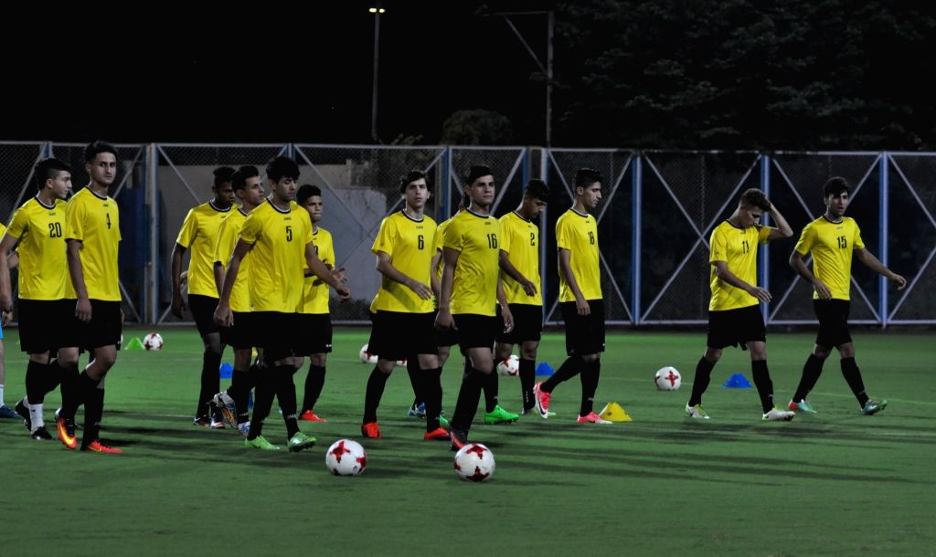 Players of Iraq during a practice session ahead of FIFA U17 World Cup at SAI ground in Kolkata, on Oct 5, 2017.