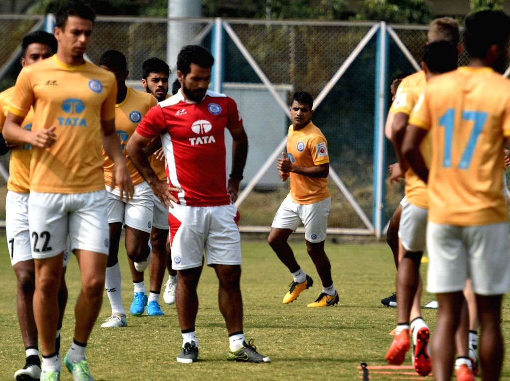 Players of Jamshedpur FC during a practice session ahead of an ISL match against Atletico de Kolkata; in Kolkata on Jan 27, 2018.