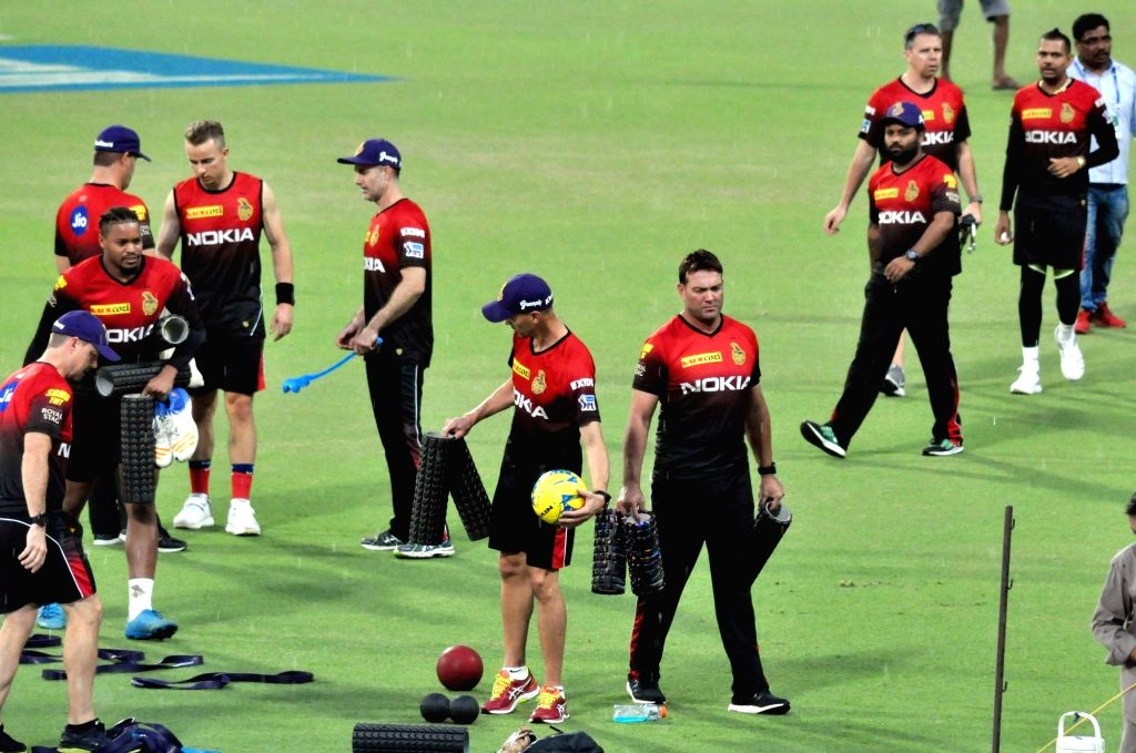 Players of Kolkata Knight Riders (KKR) during a practice session at Eden Gardens in Kolkata on April 7, 2018.