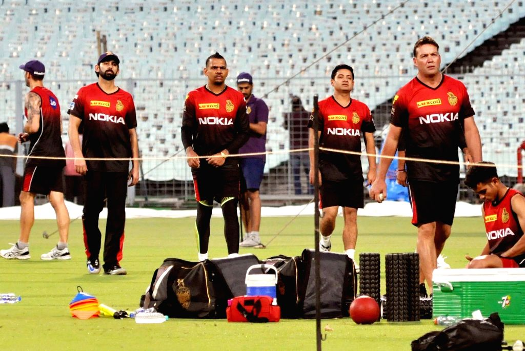 Players of Kolkata Knight Riders (KKR) during the team's practice session at Eden Gardens in Kolkata on April 5, 2018.