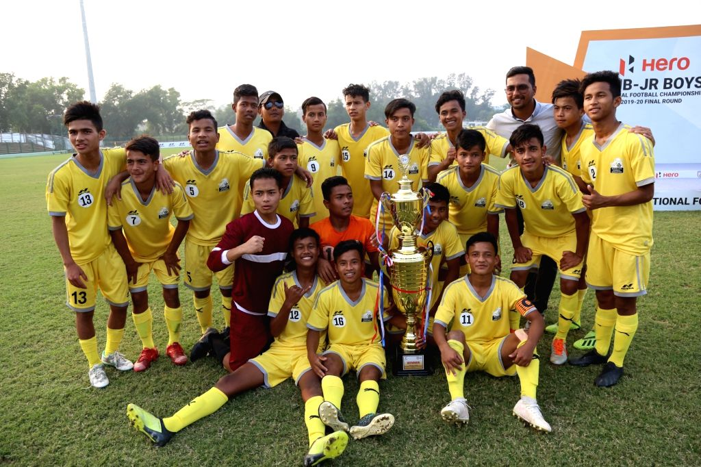 Players of Meghalaya after clinching the Hero Sub Junior National Football Championship 2019-20 title, after they beat Arunachal Pradesh by 3-0 in the final played at the Kalyani Stadium in ...