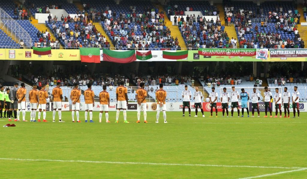 Players of Mohun Bagan A.C. and Gokulam Kerala FC observe silence to pay their respects to Former Finance Minister and BJP leader Arun Jaitley, ahead of Durand Cup final, in Kolkata on Aug ... - Arun Jaitley