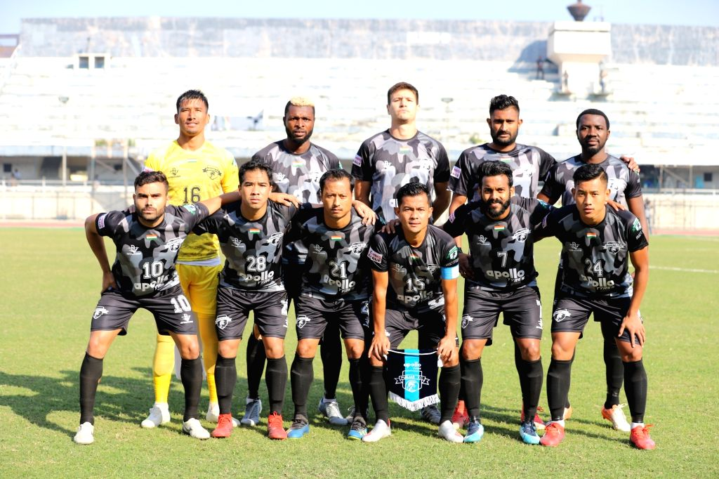 Players of Punjab FC ahead of their Hero I-League match against Quess East Bengal (QEB) at the Guru Nanak Stadium in Punjab's Ludhiana, on Dec 7, 2019. Punjab FC earned their first point of ...