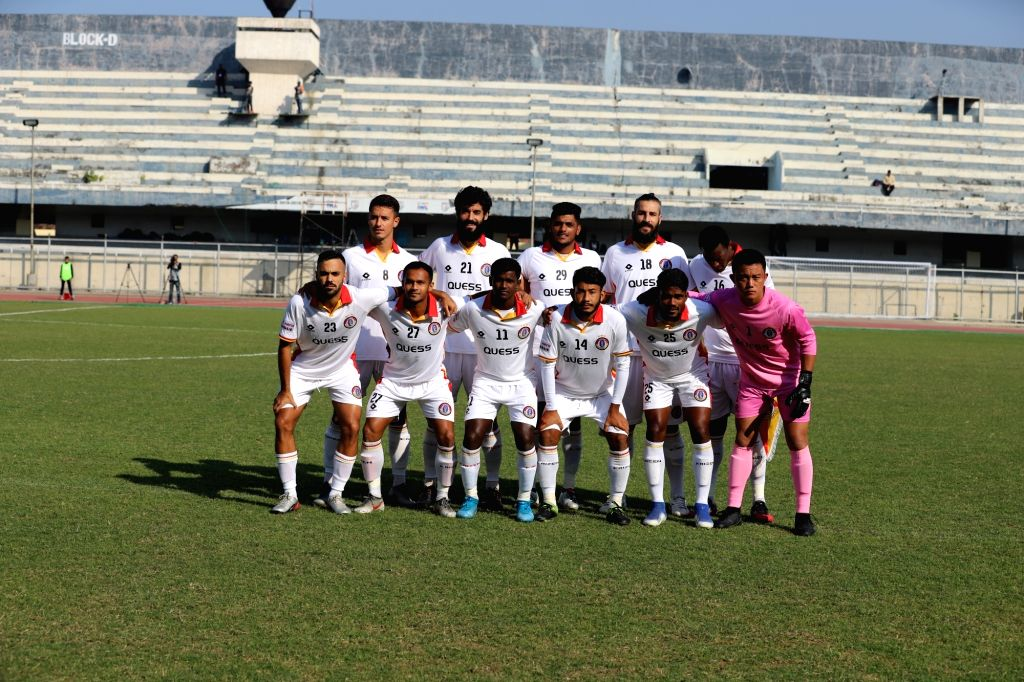 Players of Quess East Bengal (QEB) ahead of their Hero I-League match against Punjab FC at the Guru Nanak Stadium in Punjab's Ludhiana, on Dec 7, 2019. Punjab FC earned their first point of ...