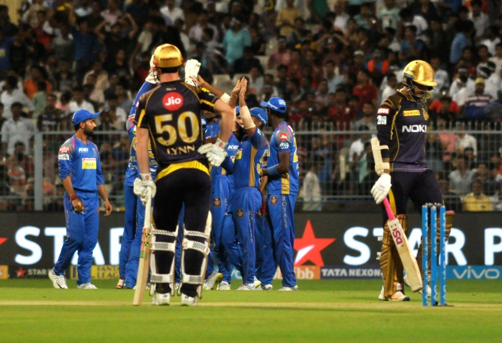 Players of Rajasthan Royals celebrate the dismissal of Sunil Narine during the Eliminator match of IPL 2018 between Kolkata Knight Riders and Rajasthan Royals at the Eden Gardens in Kolkata ...