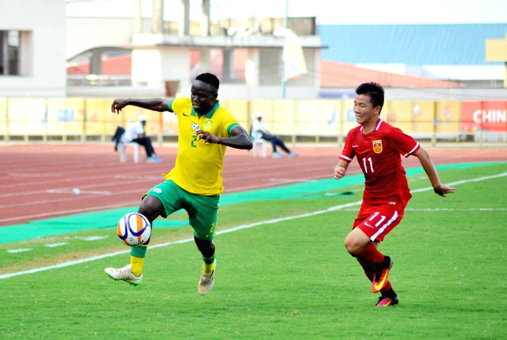 Players of South Africa and China in action during the 1st BRICS U17 football tournament at Bambolim, Goa on Oct 9, 2016.